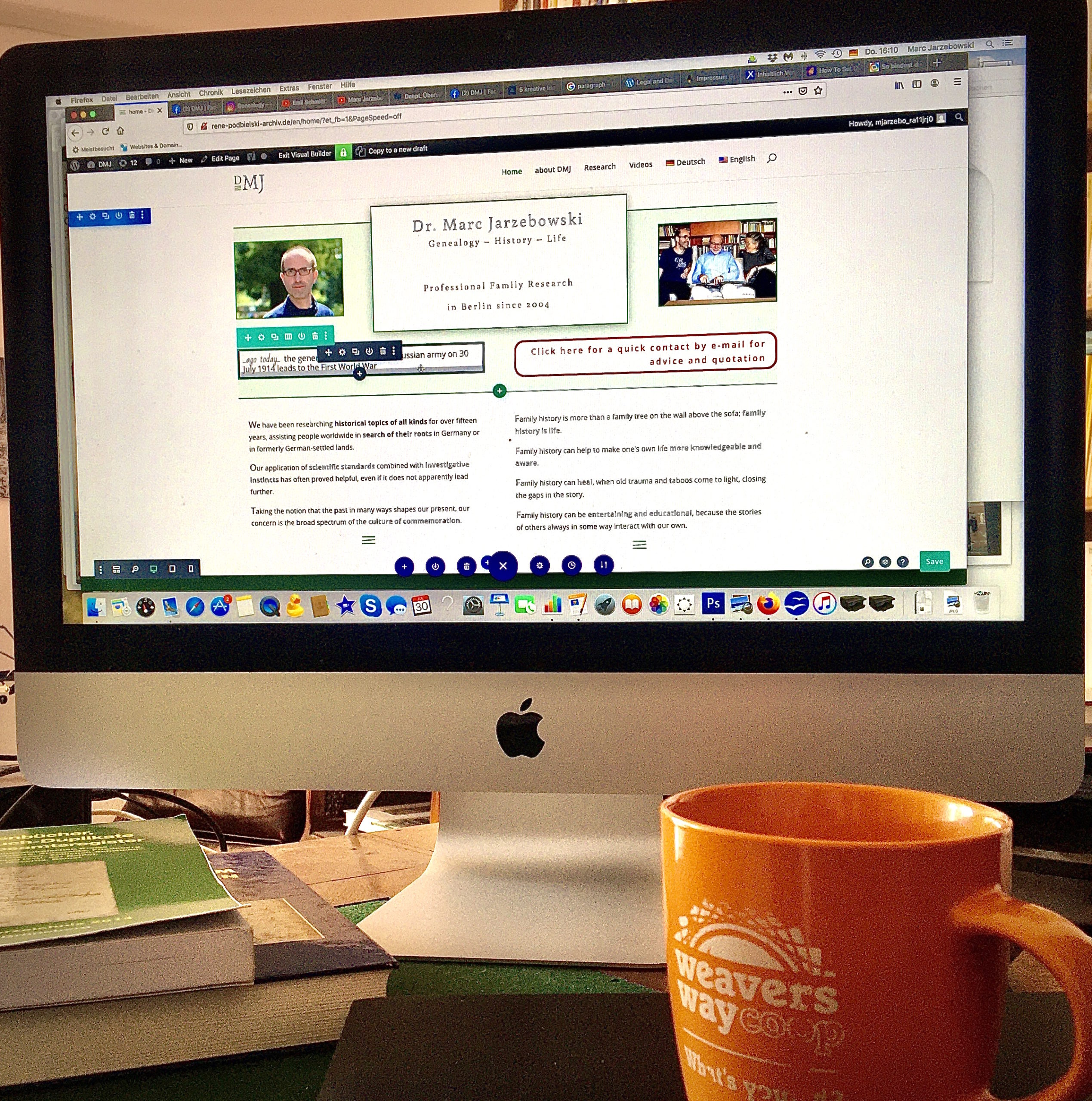 Home office: Programming of the new website of genealogist Marc Jarezbowski in Berlin