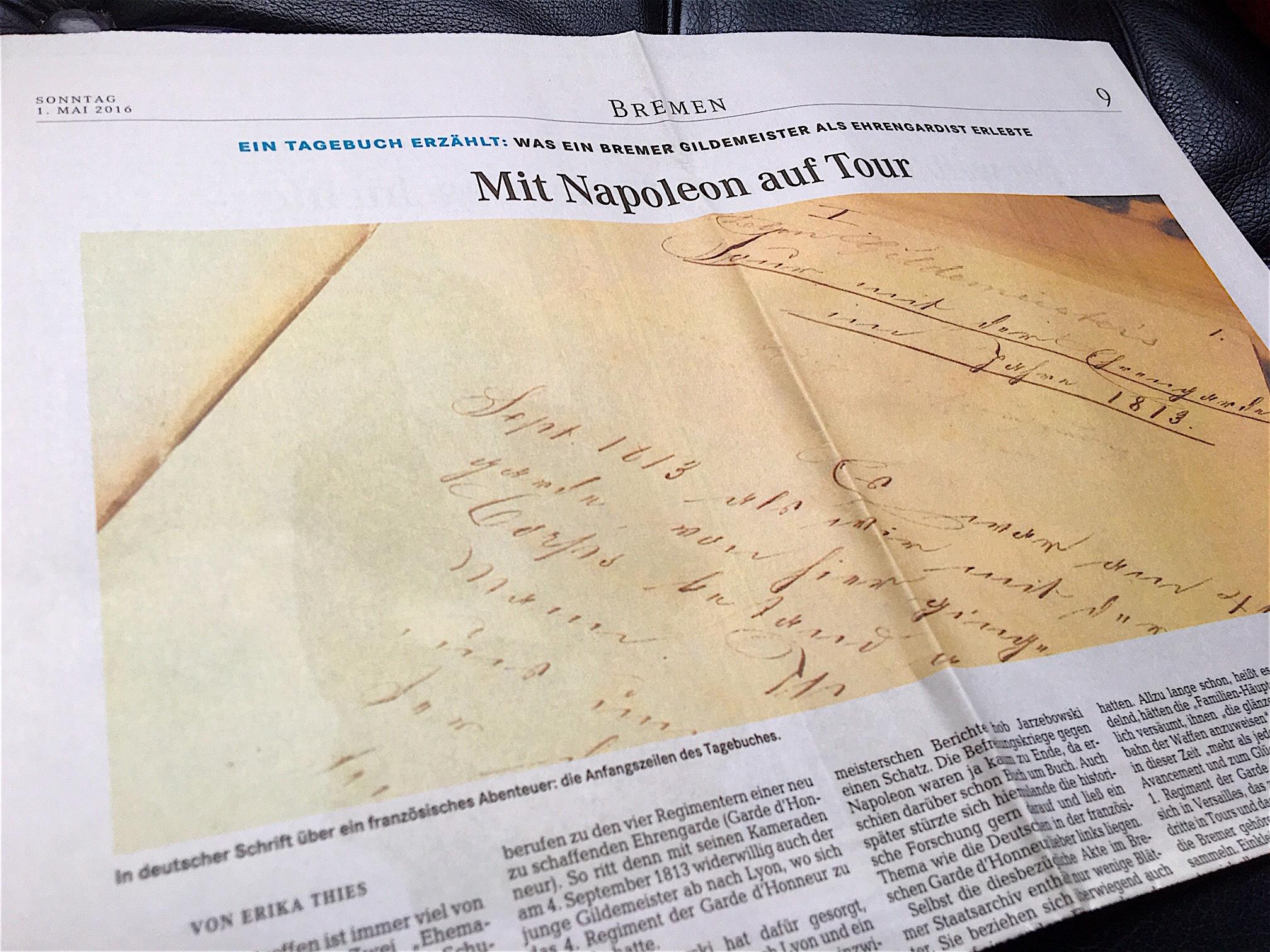 Mit Napoleon auf Tour: Artikel aus dem Weser-Kurier von 2016