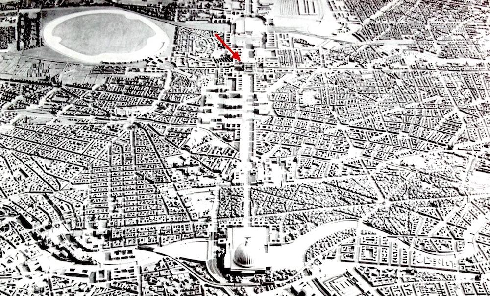 Modell vom geplanten Germania mit dem Standort des Schwerbelastungskörpers
