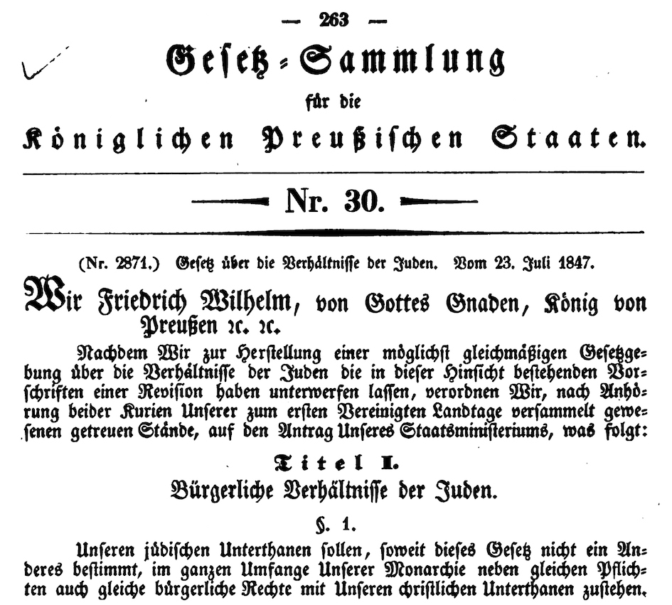 Law on Jews in Prussia from 1847